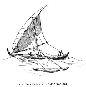 Proa is a type of multihull sailboat and is a vessel consisting of two unequal length parallel hulls, vintage line drawing or engraving illustration.