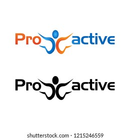 Proactive with people icon. Flat vector illustration on white background