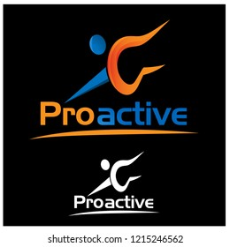 Proactive with people icon. Flat vector illustration on black background