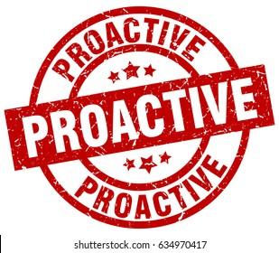 proactive round red grunge stamp