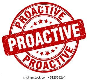 proactive stamp.  red round proactive grunge vintage stamp. proactive