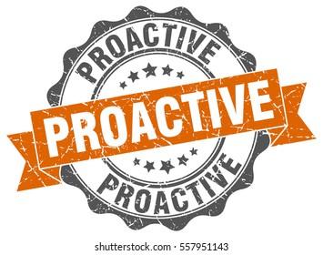 proactive. stamp. sticker. seal. round grunge vintage ribbon proactive sign