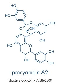 Proanthocyanidin A2 (procyanidin A2, PAC A2) molecule. Present in cranberry (juice) and a number of other plants. Used in urinary tract infarction prevention. Skeletal formula.