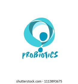 probiotics bacteria logo. concept of healthy nutrition ingredient for therapeutic purposes. simple flat style trend modern logotype graphic design isolated on white background