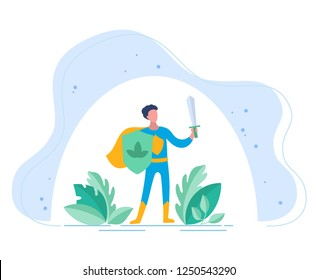 Probiotics benefits.The person with board and sword guards. Protection of a human body against an adverse effect of the outside world. Conceptual illustrations of probiotic within the human body