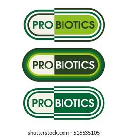 Probiotics food product label in capsule style design.
