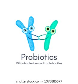 Probiotics. Lactic acid bacterium. Bifidobacterium, lactobacillus. Microbiome. Microbiota. Cute characters. Medicine or dietary supplements for gastrointestinal health. Label, banner, cover. Vector
