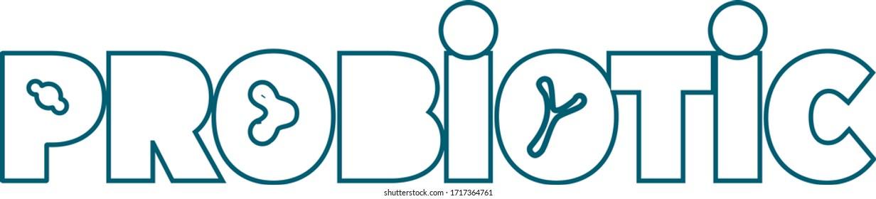 Probiotics Logo Vector Text Template. Pro biotic. Text with bacterias.Probiotics Bacteria Vector Logo. Prebiotic.