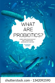 Probiotics, prebiotics. Normal gram-positive anaerobic microflora background. Editable vertical vector illustration in bright blue colors. Realistic style. Medical, healthcare and scientific concept