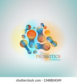 Probiotics and prebiotics. Normal gram-positive anaerobic microflora image. Editable vector illustration in bright colors in unique style. Medical, healthcare and scientific concept.