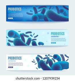 Probiotics Realistic Vector Horizontal Web Banners Set with Synbiotics Lactobacillus Bacteria Cells. Human Microflora Scientific Research, Digestive Disorders Treatment, Immunity Stimulation Medicines