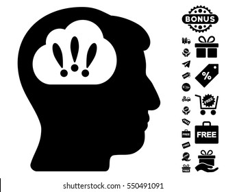 Problem Brainstorm pictograph with free bonus pictures. Vector illustration style is flat iconic symbols, black color, white background.