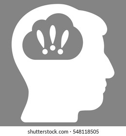 Problem Brainstorm vector pictograph. Style is flat graphic symbol, white color, gray background.
