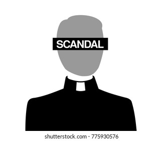 Problem of catholic christian church - priest is acussed because of inappropriate and improper scandal and scandalous behavior. allegation, investigation, conviction of clergyman. Vector illustration