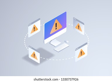 problem computer application software error concept 3d isometric technology exclamation mark icon pc monitor screen alert warning notification horizontal