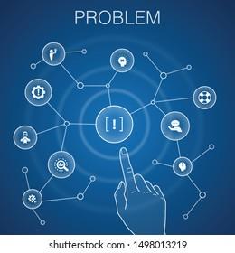 problem concept, blue background.solution, depression, analyze, resolve icons