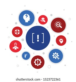 problem Infographic 10 steps bubble design. solution, depression, analyze, resolve icons
