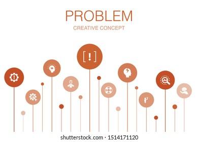 problem Infographic 10 steps circle design. solution, depression, analyze, resolve icons