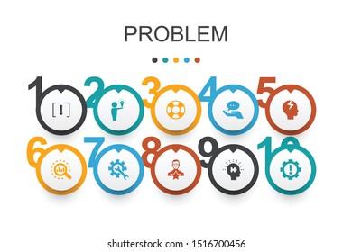 problem Infographic design template.solution, depression, analyze, resolve icons