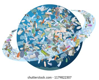 The problem of pollution of the planet. Space debris. The garbage, plastic, bags on the planet isolated on white background. The concept of ecology and the World Cleanup Day.