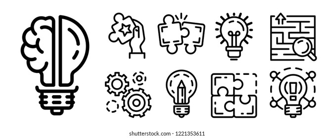 Problem resolution icon set. Outline set of problem resolution vector icons for web design isolated on white background