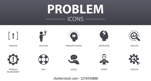 problem simple concept icons set. Contains such icons as solution, depression, analyze, resolve and more, can be used for web, logo, UI/UX
