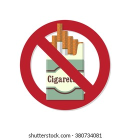 The problem of smoking. No smoking flat icon. The crossed pack of cigarettes. Cigarettes pack with shadow. Smoking kills. Vector illustration. Flat design