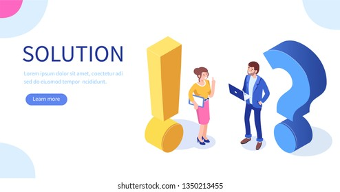 Problem and solution concept. Can use for web banner, infographics, hero images. Flat isometric vector illustration isolated on white background.