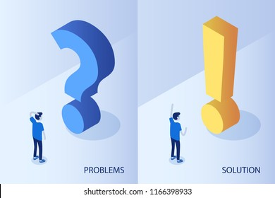 Problem and solution concept. Flat isometric vector illustration.