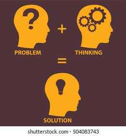 Problem solution concept showing problems solving using brain by thinking and creativity