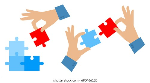 The problem solution flat illustration. Teamwork and success concept. Man's hand places last detail of puzzle. Hands hold and connect elements of jigsaw. Vector design infographic template.
