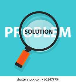 problem solution solving concept business analysis magnifying glass symbol