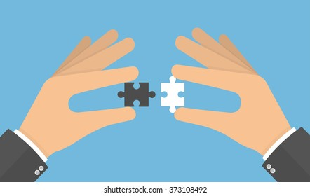Problem solving concept. Hands putting puzzle pieces together. Flat style