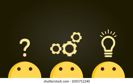 Problem solving concept. Path from question to answer, problem to solution. Vector illustration with icons and emoticon characters