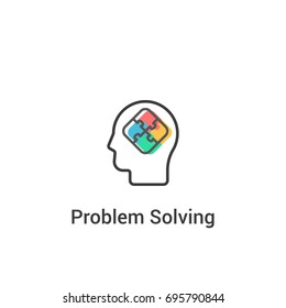 Problem solving concept. Vector illustration in flat line style. Puzzle in the human head