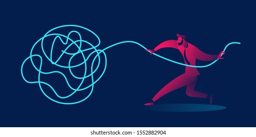 problem solving, difficult decision or psychotherapy business concept in red and blue neon gradients