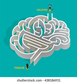 Problem solving. Nice idea of a human brain depicted as a maze. a businessman must overcome the problems by reasoning and thinking without getting lost.