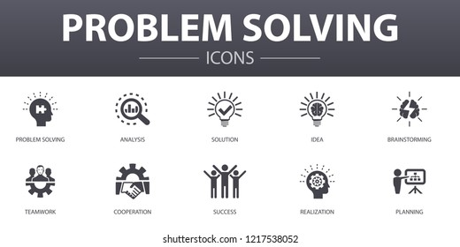 problem solving simple concept icons set. Contains such icons as analysis, idea, brainstorming, teamwork and more, can be used for web, logo, UI/UX