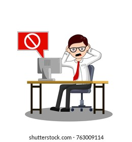 Problems with the computer. The error message icon. Scared office worker, screaming, holding his head. A man nerd in glasses sits on a chair at the table - Cartoon flat illustration