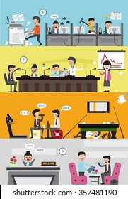 Problems and disasters in bad business company for each department such as office employee working section, meeting room, lazy leisure relaxing room, and reception for visitor banner (cartoon vector)