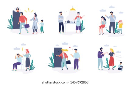 Problems in family set. Father and mother quarrel, divorce concept. Unhappy child crying. Conflict between mother and father. Isolated vector illustration in flat style