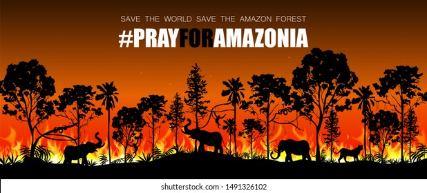 Problems forest fire in Brazil. Forest fires with wild animals. Vector illustration.