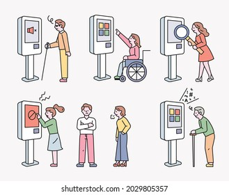 Problems of a smart society. People are experiencing inconvenience because they cannot use the kiosk. outline simple vector illustration.