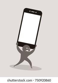 Problems, trouble, dangers and difficulties connected with usage of phones and smartphones - negative impact and side effect like phubbing, overuse. Vector illustration of user and heavy device