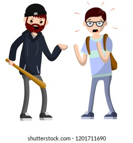 Problems of urban security. Crime on the streets. An aggressive man with a baseball bat threatens a student with a backpack. Extortion money bandit