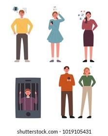 Problems using cell hones. vector illustration flat design