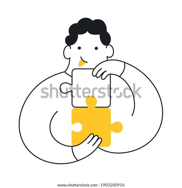 Problem-solving, cute cartoon man connecting puzzle pieces. Product management, challenge, problem-solving. Elegant vector illustration on white.