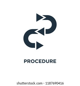 Procedure icon. Black filled vector illustration. Procedure symbol on white background. Can be used in web and mobile.