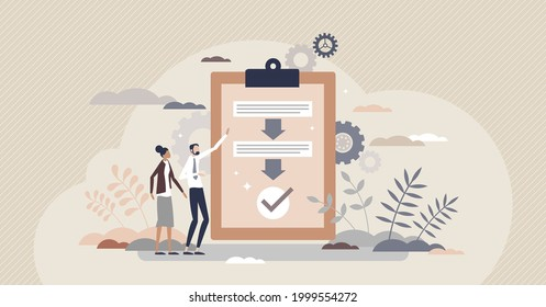 Procedure as work flow process steps scheme document tiny person concept. Strategy and task checklist regulation to control quality and content sequence vector illustration. Efficiency optimization.