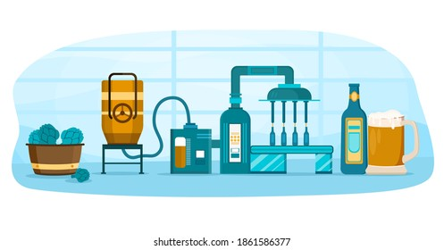 Process of beer manufacturing. Concept of alcohol industry. Filtration, boiling, brewing, sedimantation, fermentation and packaging bottles with beers. Flat cartoon vector illustration